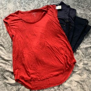 NWT Loft Maternity Red Linen Short Sleeve Shirt
